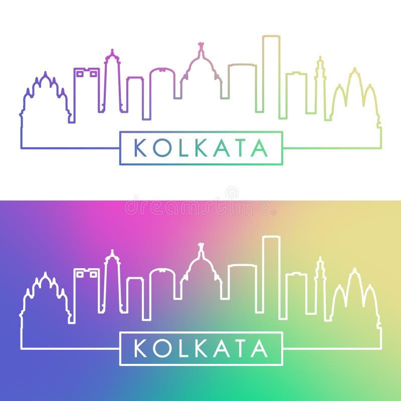 Horizonte de Kolkata Estilo linear colorido stock de ilustración