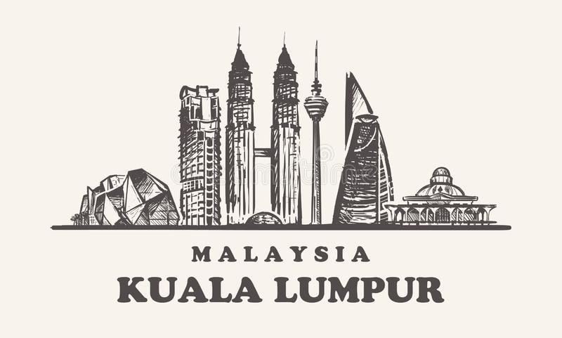 Horizonte de Kuala Lampur, ejemplo del vector del vintage de Malasia, edificios exhaustos de la mano libre illustration