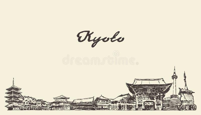 Horizonte de Kyoto, bosquejo exhausto de la ciudad del vector de Japón ilustración del vector