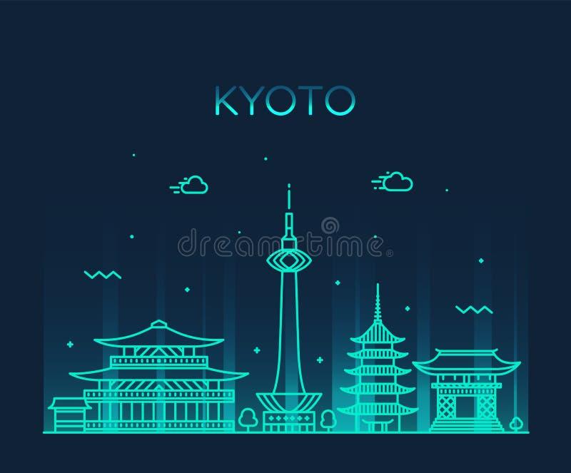 Horizonte de Kyoto, ciudad linear del estilo del vector de Japón stock de ilustración