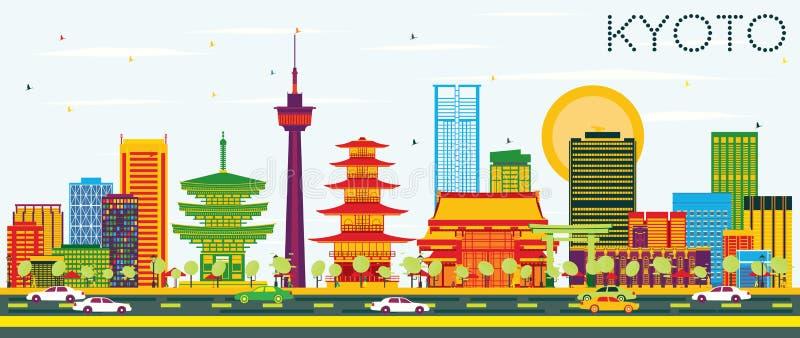 Horizonte de Kyoto con los edificios del color y el cielo azul ilustración del vector
