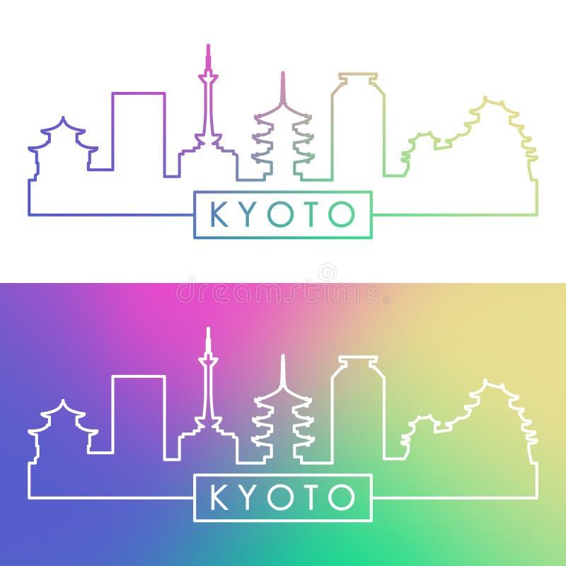 Horizonte de Kyoto Estilo linear colorido ilustración del vector
