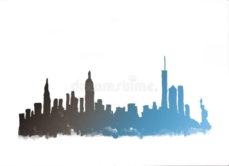 Horizonte de la acuarela de New York City stock de ilustración