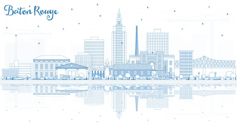 Horizonte de la ciudad de Baton Rouge Luisiana del esquema con los edificios azules a libre illustration