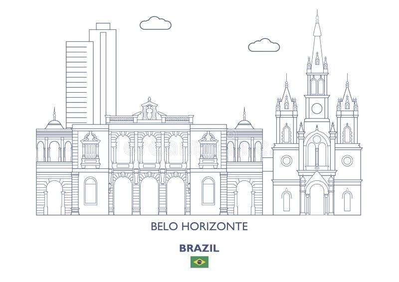 Horizonte de la ciudad de Belo Horizonte, el Brasil stock de ilustración