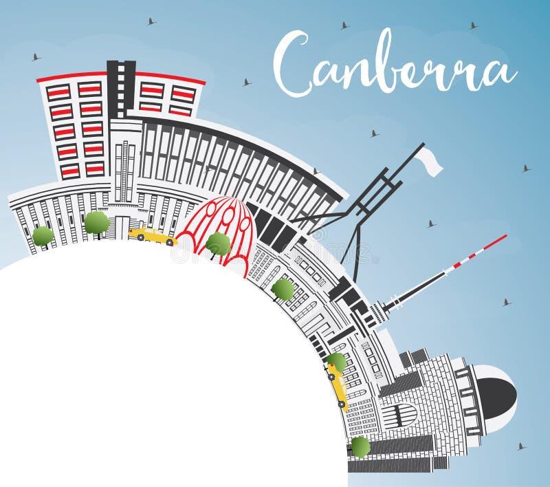 Horizonte de la ciudad de Canberra Australia con Gray Buildings, cielo azul ilustración del vector