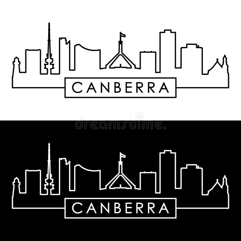 Horizonte de la ciudad de Canberra estilo linear stock de ilustración