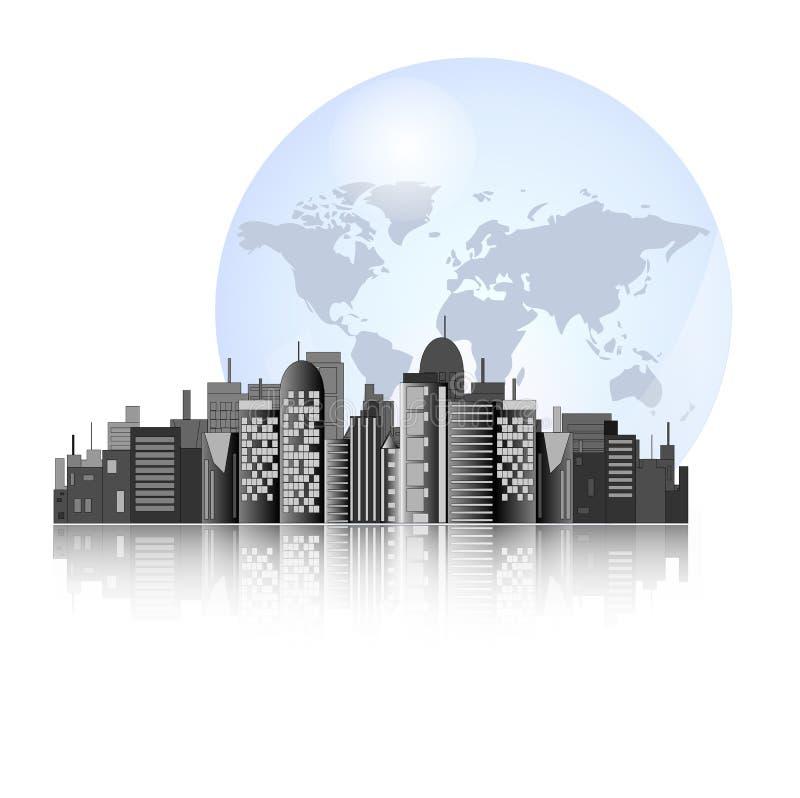 Horizonte de la ciudad con el fondo de la tierra ilustración del vector