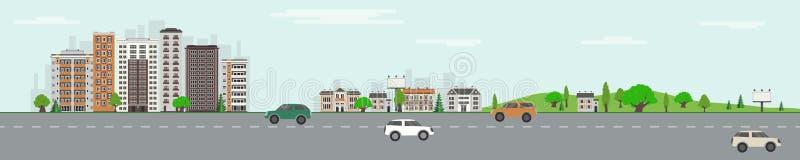 Horizonte de la ciudad con los rascacielos, parque público con los árboles y césped verdes y camino con los vehículos