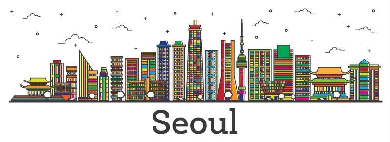 Horizonte de la ciudad de la Corea del Sur de Seul del esquema con el aislador de los edificios del color libre illustration