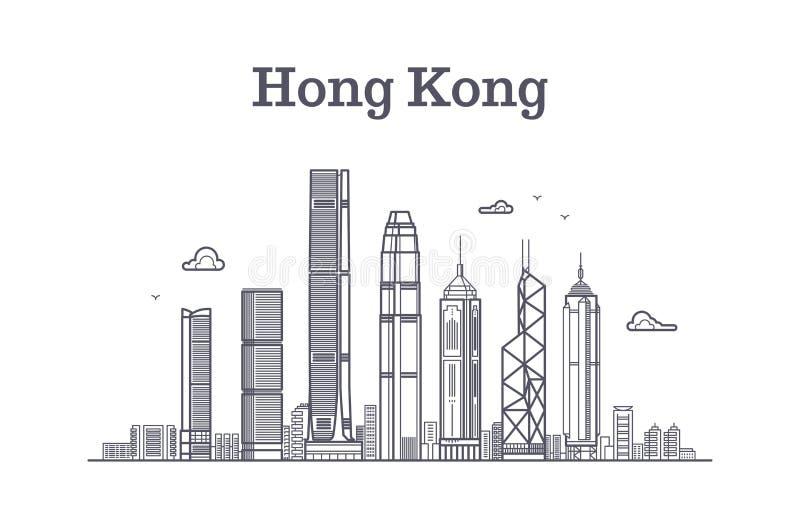 Horizonte de la ciudad de China Hong-Kong Línea panorama del vector de las señales y de los edificios de la arquitectura libre illustration