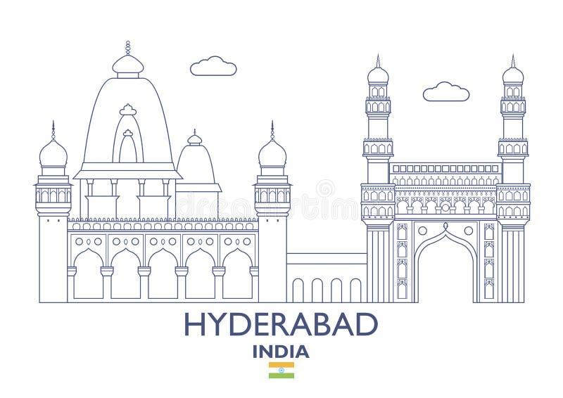 Horizonte de la ciudad de Hyderabad, la India stock de ilustración