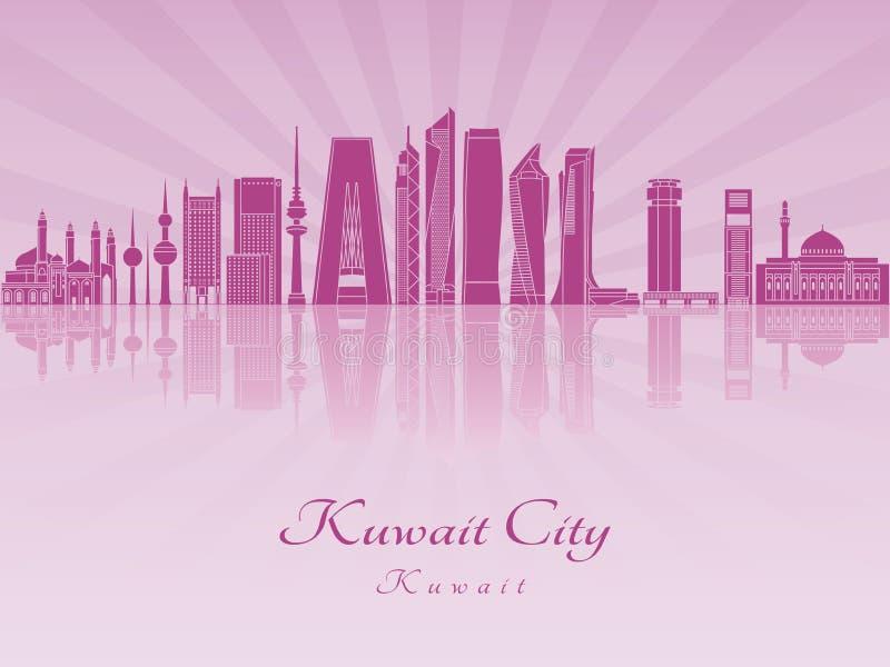Horizonte de la ciudad de Kuwait V2 en orquídea radiante púrpura stock de ilustración