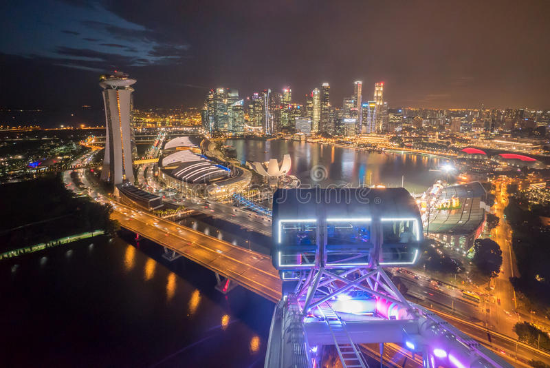 Horizonte de la ciudad de los aviadores de Singapur imágenes de archivo libres de regalías
