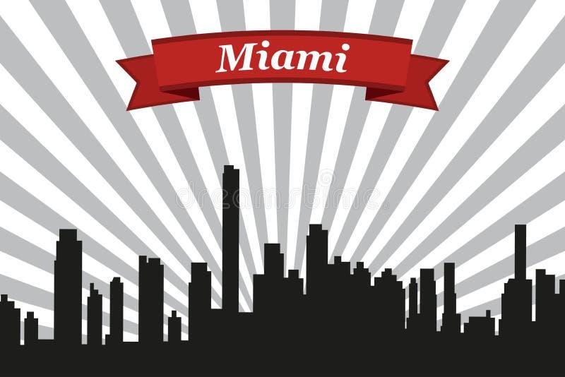 Horizonte de la ciudad de Miami con el fondo y la cinta de los rayos libre illustration