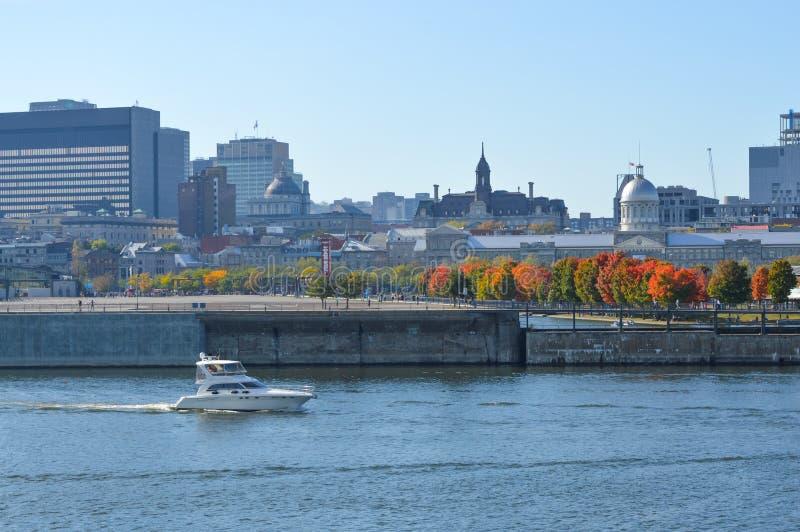 Horizonte de la ciudad de Montreal en el puerto viejo fotografía de archivo libre de regalías