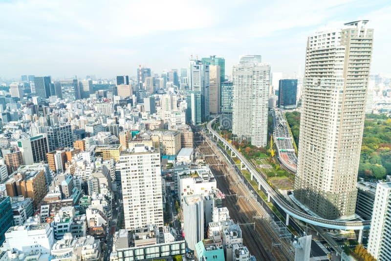 Horizonte de la ciudad de Tokio en la oscuridad foto de archivo libre de regalías