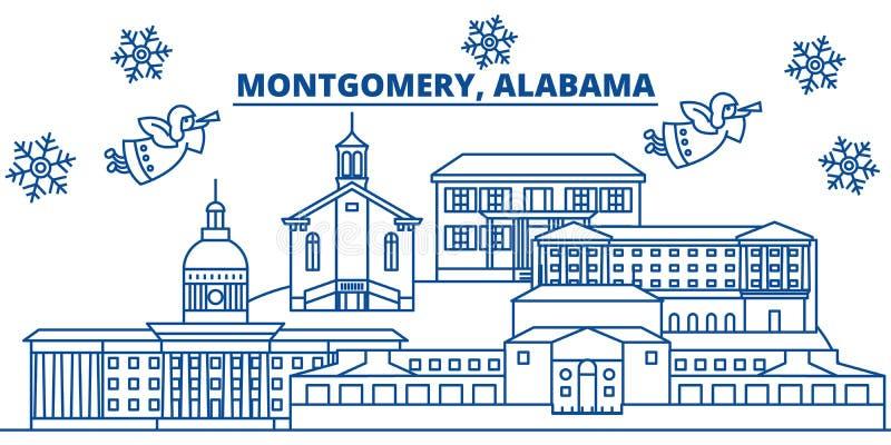 Horizonte de la ciudad del invierno de los E.E.U.U., Alabama, Montgomery La Feliz Navidad y la Feliz Año Nuevo adornaron la bande stock de ilustración