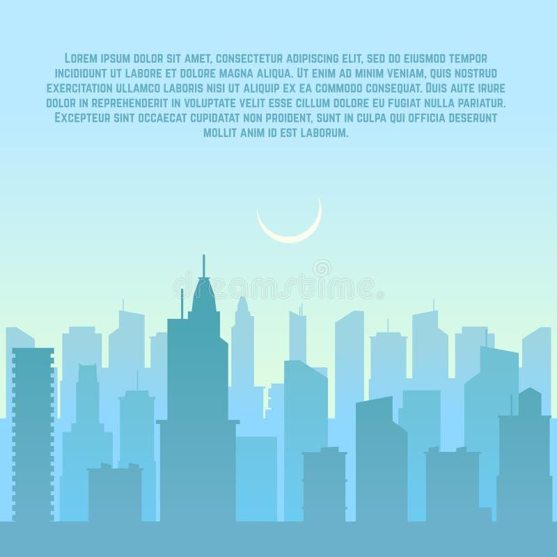 Horizonte de la ciudad, ejemplo urbano del vector del paisaje urbano libre illustration