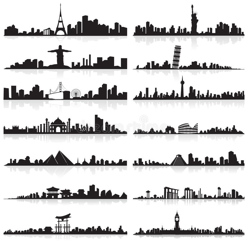 Horizonte de la ciudad famosa libre illustration
