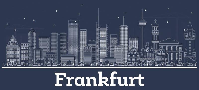Horizonte de la ciudad de Francfort Alemania del esquema con los edificios blancos ilustración del vector