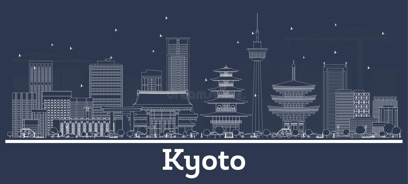 Horizonte de la ciudad de Kyoto Jap?n del esquema con los edificios blancos libre illustration