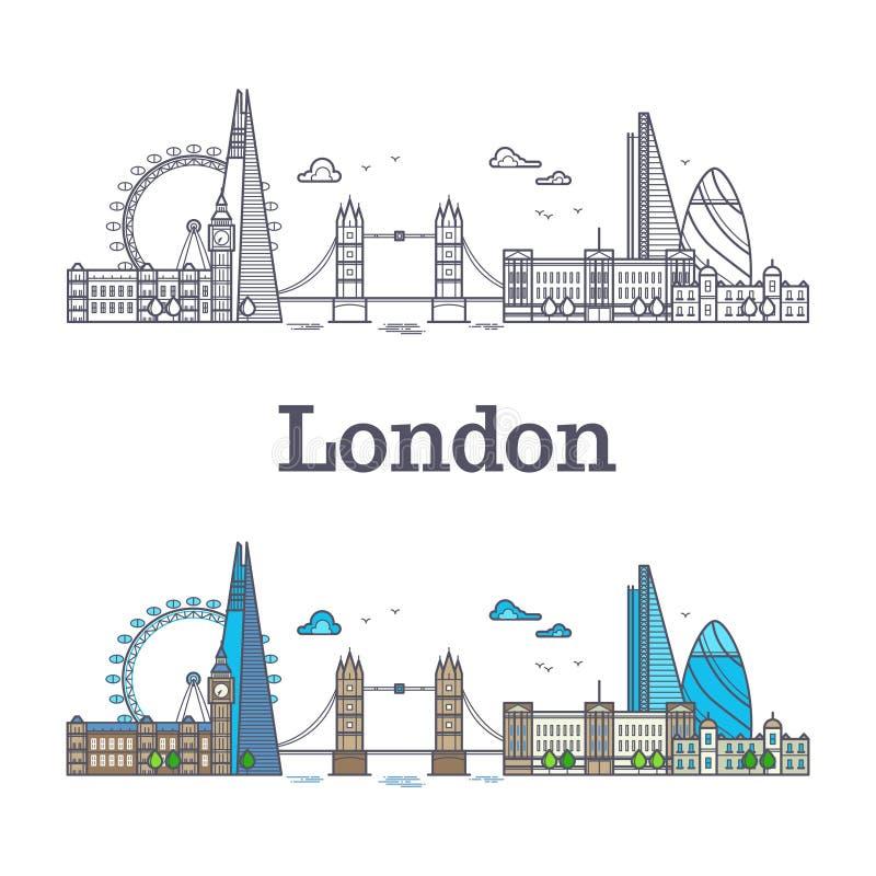 Horizonte de la ciudad de Londres con los edificios famosos, señales de Inglaterra del turismo libre illustration