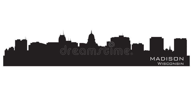 Horizonte de la ciudad de Madison, Wisconsin Silueta detallada de la ciudad ilustración del vector