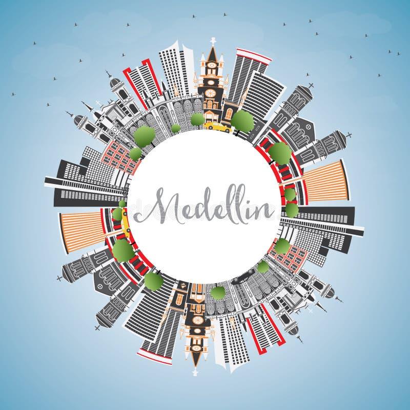 Horizonte de la ciudad de Medellin Colombia con Gray Buildings, cielo azul y ilustración del vector