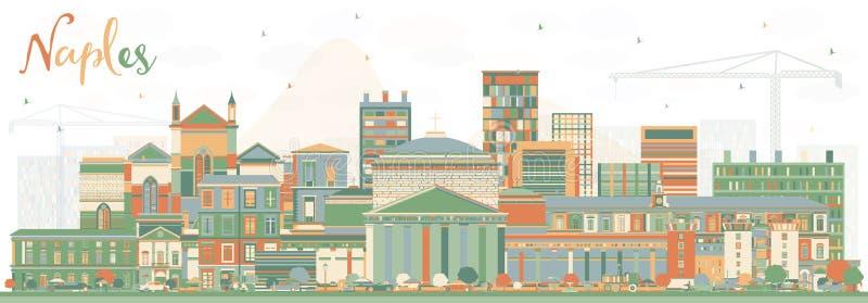 Horizonte de la ciudad de Nápoles Italia con los edificios del color stock de ilustración