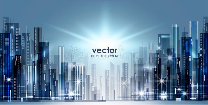 Horizonte de la ciudad de la noche, ejemplo del vector libre illustration