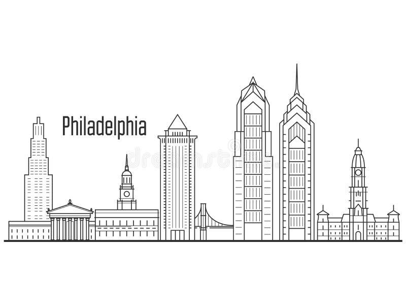 Horizonte de la ciudad de Philadelphia - paisaje urbano céntrico, torres ilustración del vector