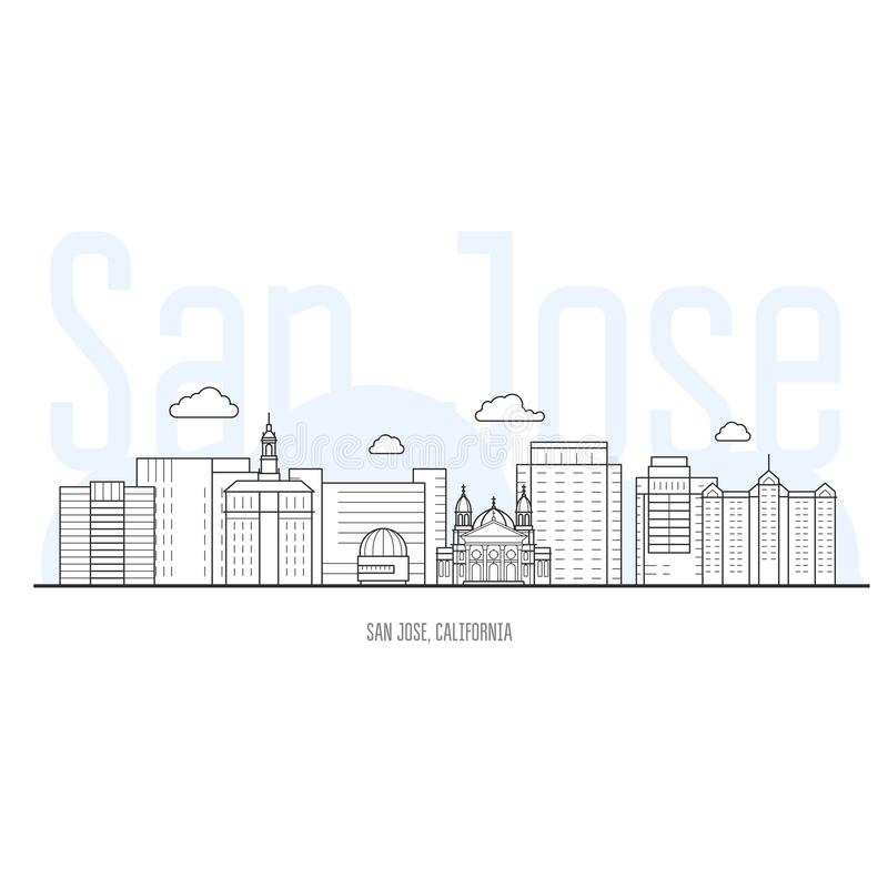 Horizonte de la ciudad de San Jose - paisaje urbano de San Jose, California libre illustration