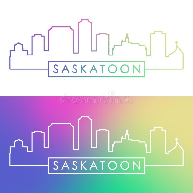 Horizonte de la ciudad de Saskatoon Estilo linear colorido ilustración del vector
