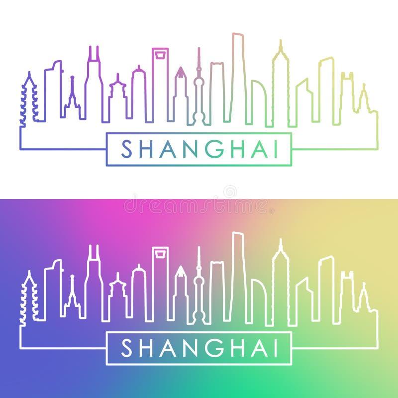 Horizonte de la ciudad de Shangai Estilo linear colorido stock de ilustración
