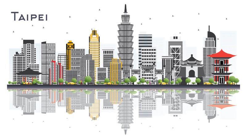 Horizonte de la ciudad de Taipei Taiwán con Gray Buildings Isolated en blanco libre illustration