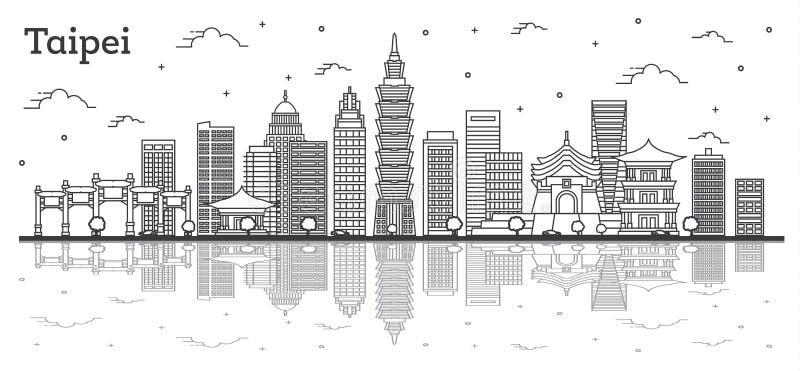 Horizonte de la ciudad de Taipei Taiwán del esquema con los edificios modernos y reflexiones aisladas en blanco stock de ilustración