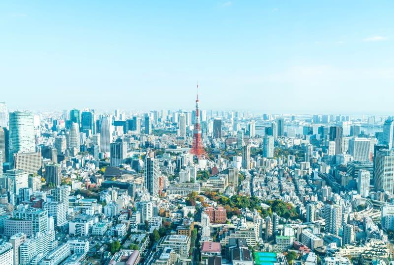 Horizonte de la ciudad de Tokio con la torre de Tokio foto de archivo
