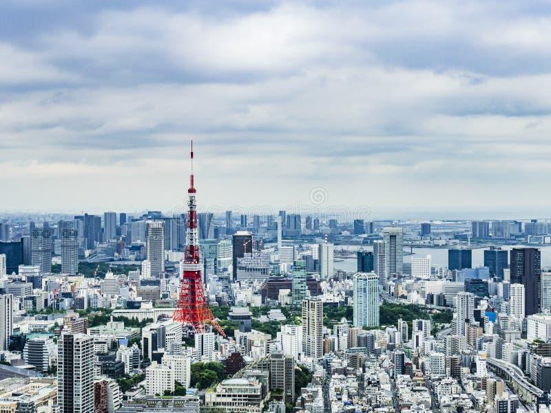 Horizonte de la ciudad de Tokio con la torre de Tokio foto de archivo libre de regalías