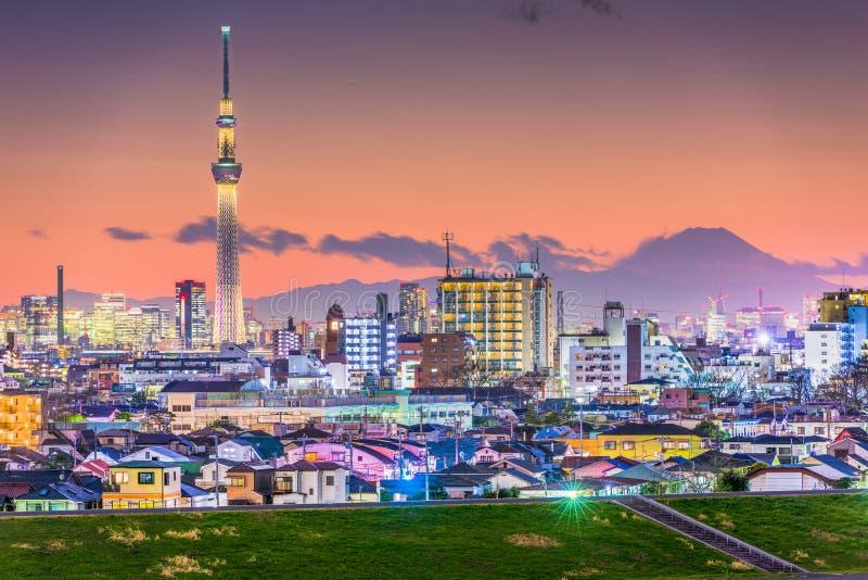 Horizonte de la ciudad de Tokio, Japón fotos de archivo libres de regalías