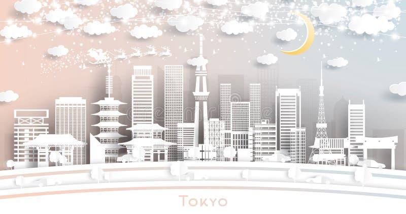 Horizonte de la ciudad de Tokio Japón en el estilo cortado de papel con los copos de nieve, la luna y la guirnalda de neón libre illustration