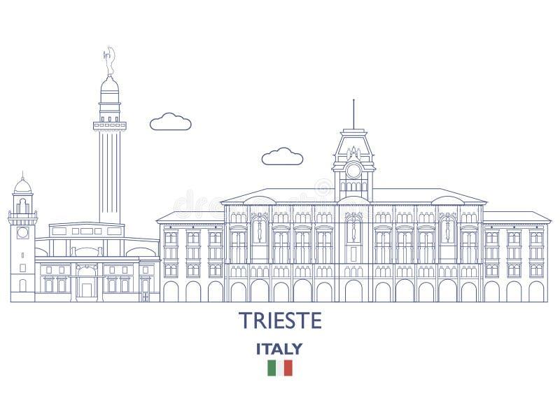 Horizonte de la ciudad de Trieste, Italia stock de ilustración