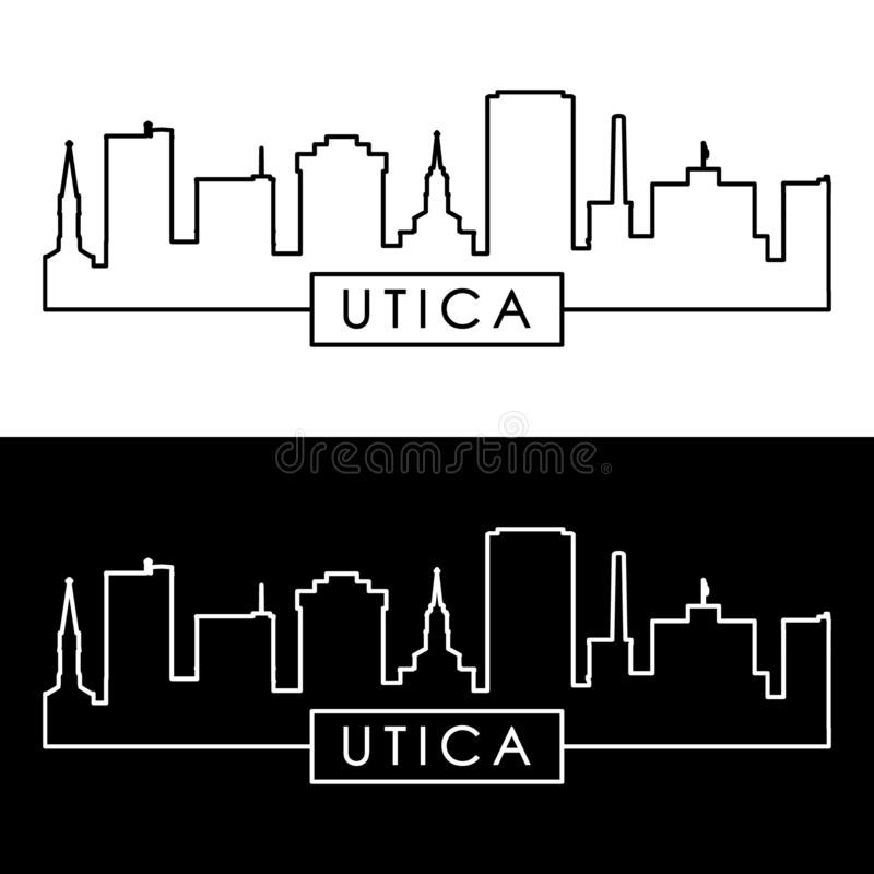 Horizonte de la ciudad de Utica estilo linear libre illustration