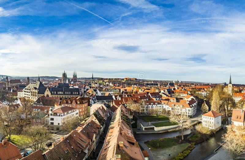Horizonte de la ciudad vieja de Erfurt, Alemania imagen de archivo libre de regalías