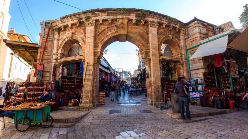 Horizonte de la ciudad vieja en la pared y la Explanada de las Mezquitas occidentales en Jerusalén, Israel fotografía de archivo libre de regalías