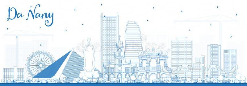 Horizonte de la ciudad de Vietnam del Da Nang del esquema con los edificios azules stock de ilustración