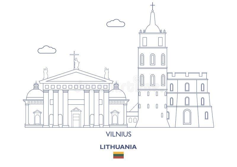 Horizonte de la ciudad de Vilna, Lituania ilustración del vector
