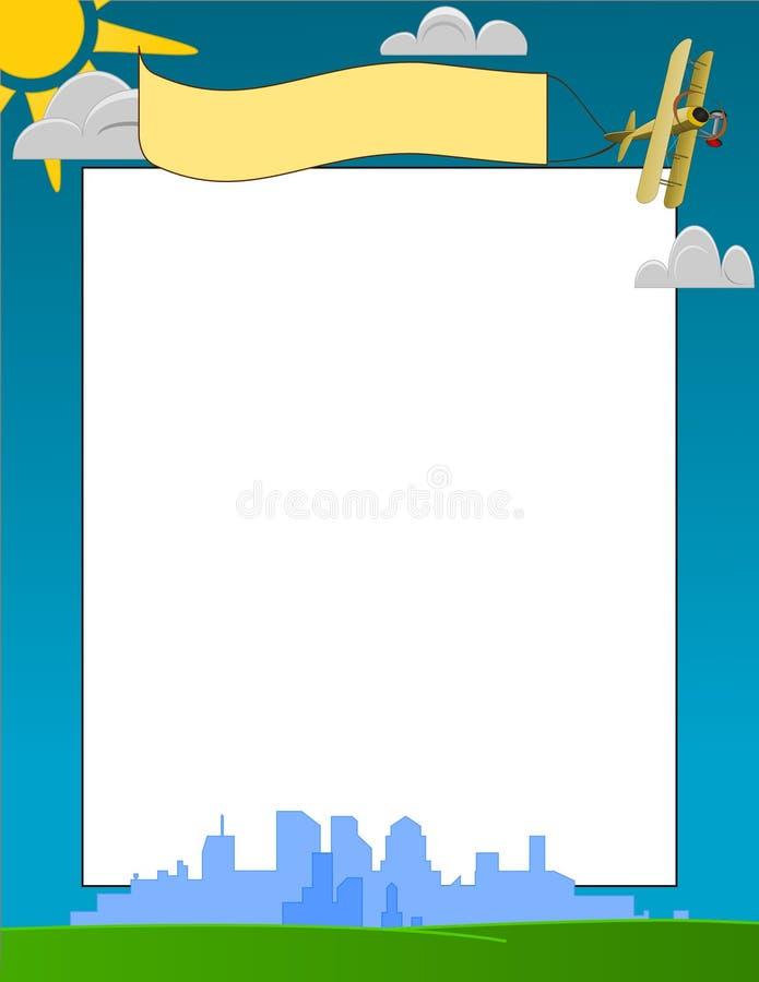 Horizonte de la ciudad y marco del día asoleado ilustración del vector