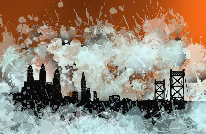Horizonte de la mancha de Philadelphia sobre naranja libre illustration