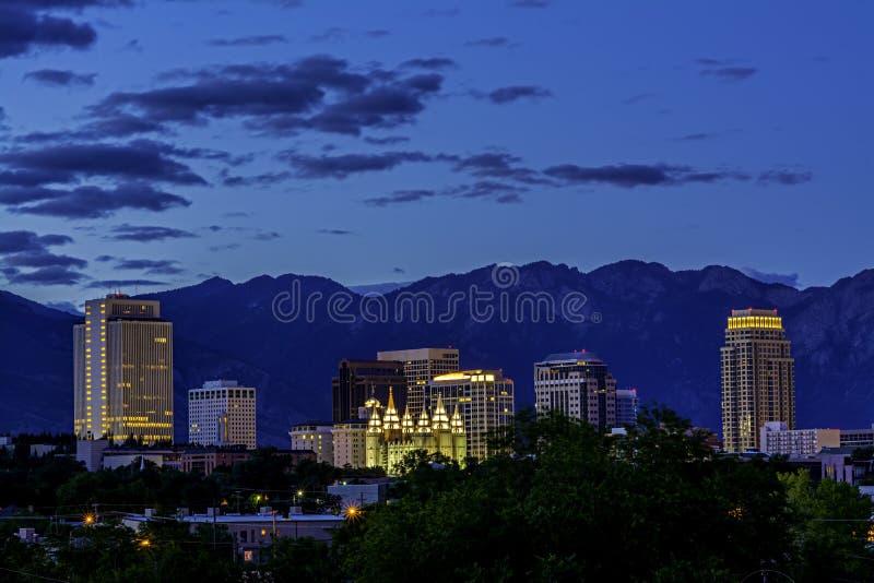 Horizonte de la noche de Salt Lake City fotos de archivo libres de regalías